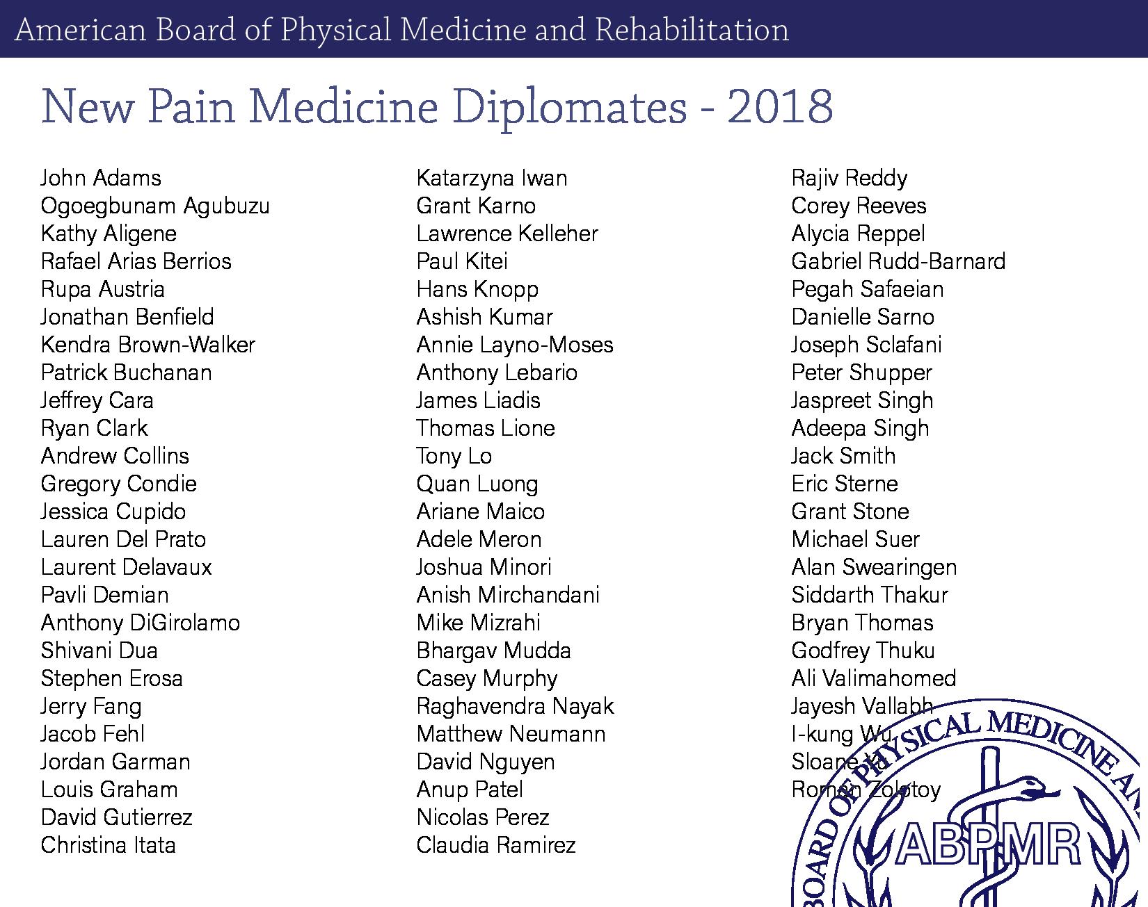 ABPMR - 2018 Pain Medicine Examination Results